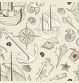 marine life seamless pattern sailing ship vector image