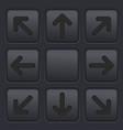 black arrows key buttons set 3d icons on plastic vector image