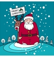 Christmas card with Santa gifts and reindeer vector image