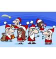 christmas santa clauses cartoon vector image