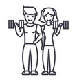 couple in fitness gym line icon sign vector image
