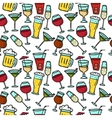 doodle drinks seamless pattern Beverages vector image