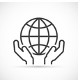 Hands holding globe icon vector image