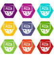 pizza badge or signboard icon set color hexahedron vector image