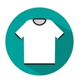 Simple white tshirt icon with long shadow vector image
