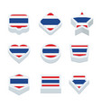 thailand flags icons and button set nine styles vector image
