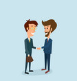 two businessmen shake hands partnership vector image