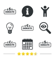 Donate money signs Dollar euro and pounds vector image