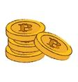 bitcoin image many golden moneys vector image