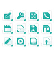 stylized mobile phone computer and internet icons vector image vector image