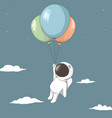 little astronaut keeps to balloons vector image