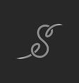 Calligraphic letter S logo monogram black and vector image