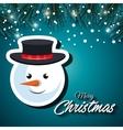 card christmas snowman face snowfall vector image