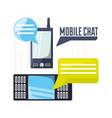 cellphones with chat bubbles communication vector image