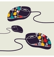 Computer mouse decorated with design print vector image
