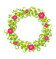 floral circle isolated with grass swirls and red vector image
