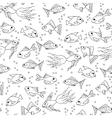 Hand drawn Fish in water seamless pattern for vector image
