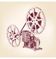 old film projector hand drawn vector image