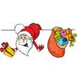 Santa peeking around white areas and holding gifts vector image