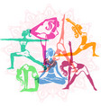 set of girls in yoga poses vector image