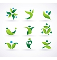 green ecology people icons vector image vector image