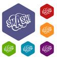 smash comic book bubble text icons set hexagon vector image