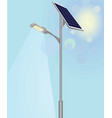 street light with solar panels vector image