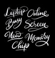 online and laptop hand written typography vector image