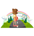 A young girl standing in the middle of the street vector image vector image