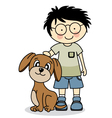 boy with his dog vector image