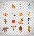 circus flat icons on transparent background vector image vector image