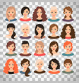 woman avatar set on transparent background vector image
