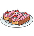 Plate of cakes vector image
