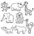 animals set 8 outlined vector image