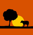 forest night moon - bear and tree silhouettes vector image