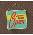 hanged retro open sign vector image