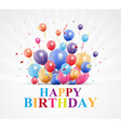 Happy Birthday greetings with balloon and confetti vector image