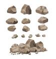 rock stone big set cartoon vector image