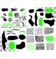 set of brush acrylic strokes black green vector image