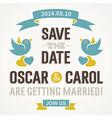 Wedding Invitation with cute birds vector image vector image