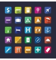 Flat travel icon set with shadow vector image