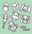 animal stickers3 vector image vector image