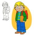 Schoolboy Coloring book page vector image