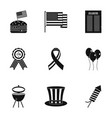 american independence day icon set simple style vector image