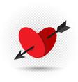 heart pierced by an arrow of cupid vector image
