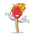 listening music match stick mascot cartoon vector image