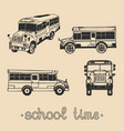 set of hand drawing school bus with text vector image