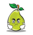 angry face pear character cartoon vector image