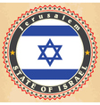 Vintage label cards of Israel flag vector image vector image