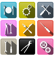 Retro Buttons Cogs Gears Screwdriver Pincers vector image vector image